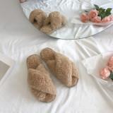 Cozy Soft Small Curls Plush Fleece Cross Open Toe Slides Indoor Outdoor House Winter Warm Slippers