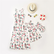 Mommy and Me Matching Printed Floral Sleeveless Maxi Dresses