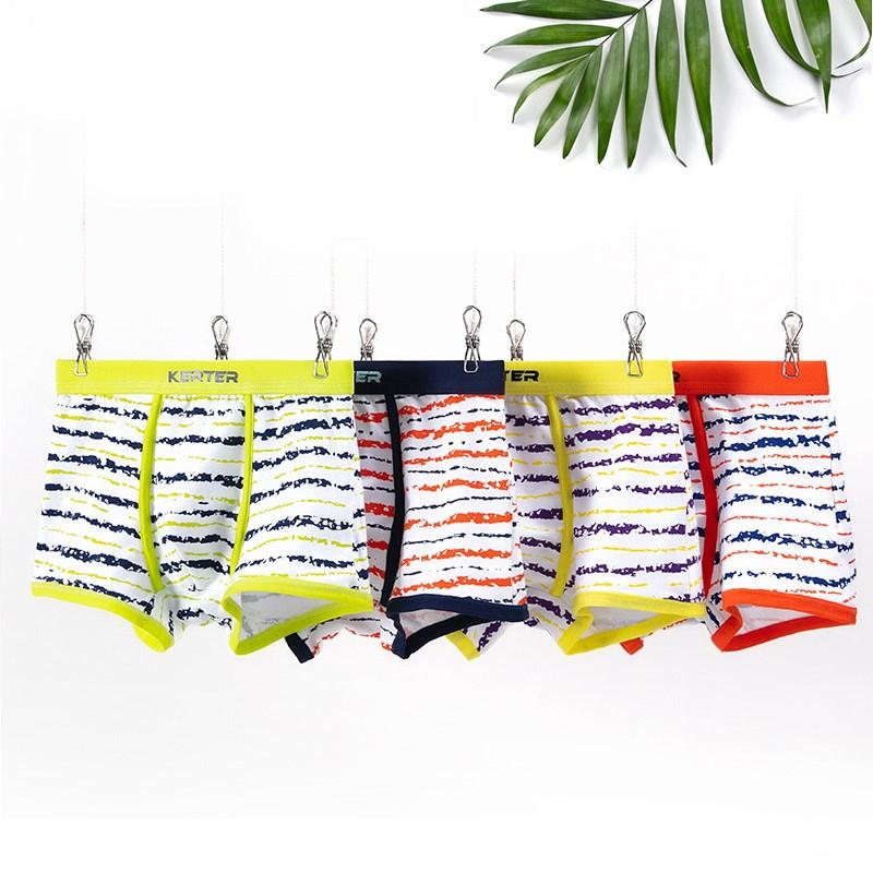 Kid Boys 2 Packs Print Stries Boxer Briefs Cotton Underwear