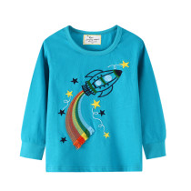 Toddler Boys Embroidery Rainbow Rocket Sweatshirts