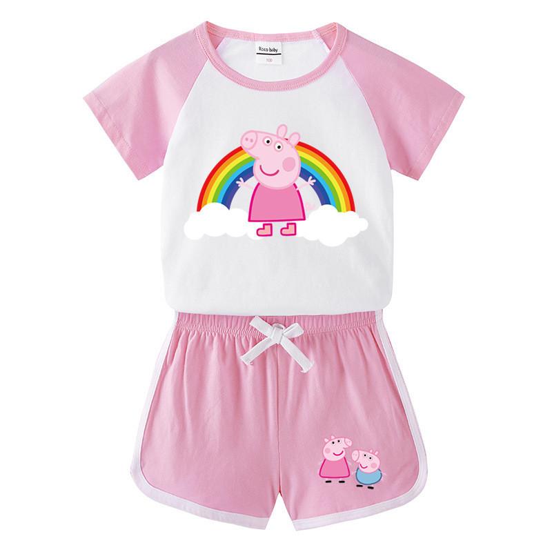 Toddler Kids Girl Rainbow Peppa Pig Summer Short Pajamas Sleepwear Set Cotton Pjs