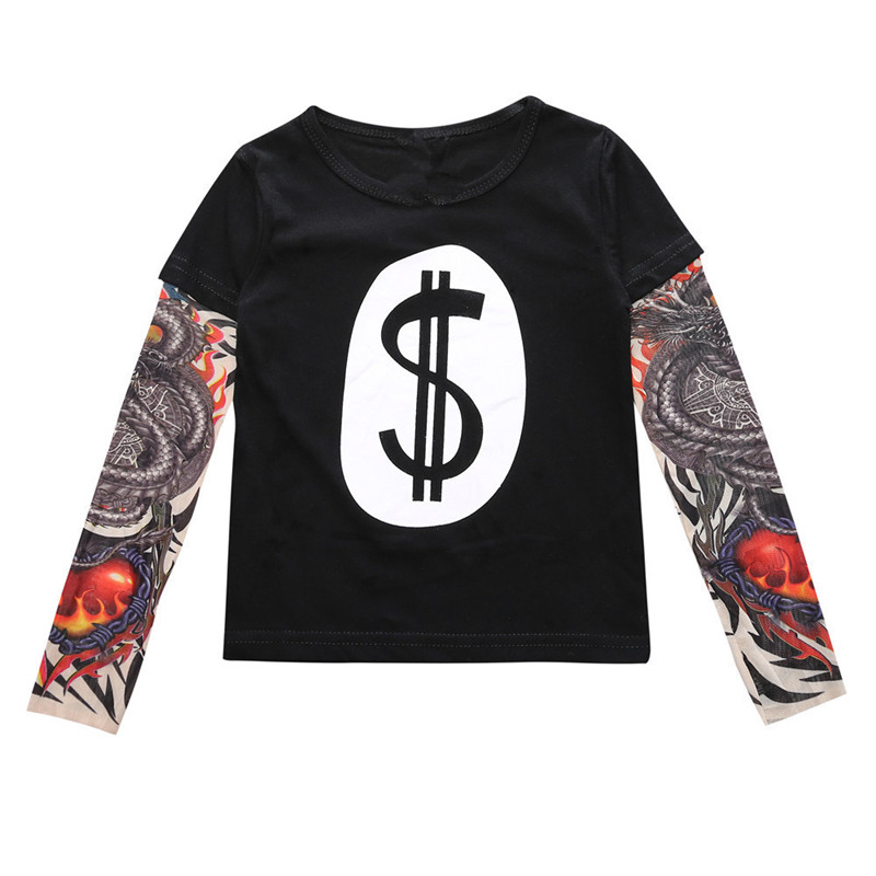 Toddler Boys Prints Tiger Slogan Tattoo Skeleton Splicing Long Sleeve Tee