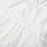 Women Deep V-Neck Embroidery Flowers Hollow Out Backless Lace Dress