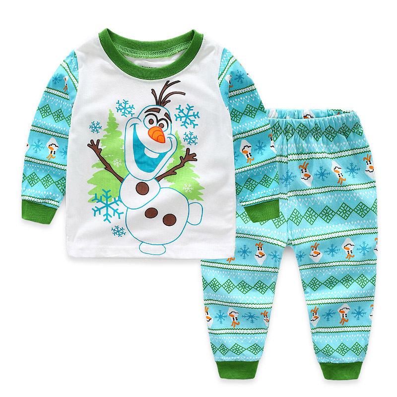 Toddler Boy Print Olaf Snowman Pajamas Sleepwear Long Sleeve Tee & Leggings 2 Pieces Sets