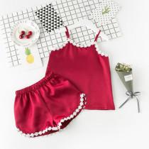 Toddler Girls Lace Flowers Summer Short Pajamas Rayon Silk Sleepwear Set