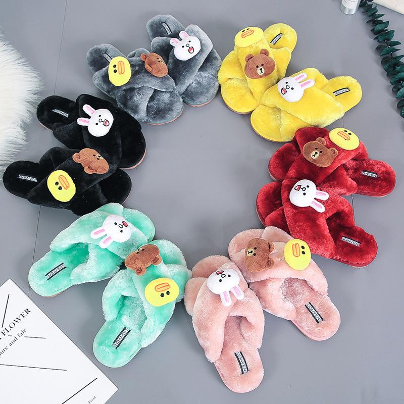 Girl Cozy Soft Plush Fleece Cartoon Rabbit Bear Duck Cross Open Toe Slides Indoor House Winter Warm Slippers