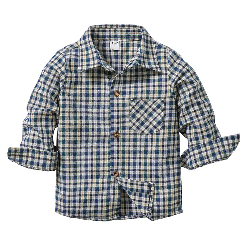 Toddler Boys White Navy Plaids Casual Long Sleeve Shirt