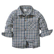Toddler Boys White Navy Plaids Casual Long Sleeve Shirt