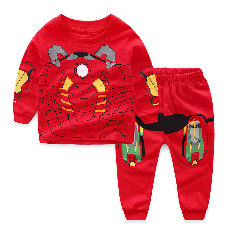 Toddler Boy Red Print Marvel Iron Man Pajamas Sleepwear Long Sleeve Tee & Leggings 2 Pieces Sets