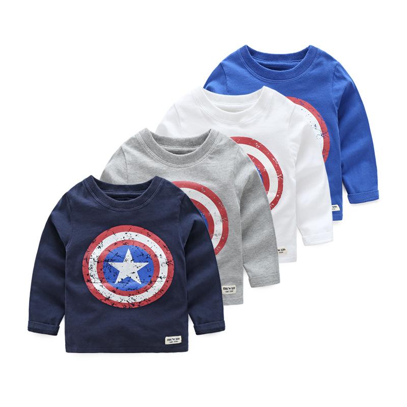 Toddler Boys Captain America Long Sleeve Cotton Tee