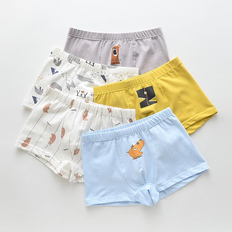 Kid Boy 5 Packs Print Animals Boxer Briefs Cotton Underwear