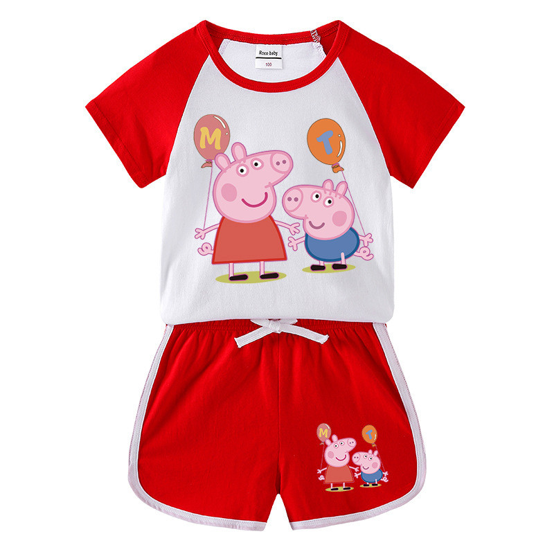 Toddler Kids Girl Peppa Pig Balloons Summer Short Pajamas Sleepwear Set Cotton Pjs