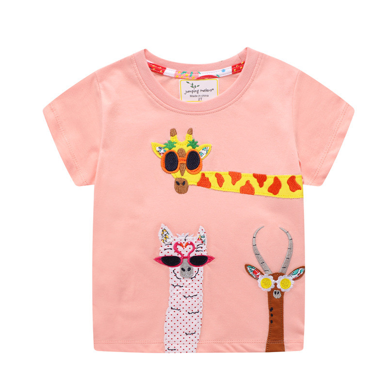 Toddle Girls Print Giraffes Cotton Pink T-shirt