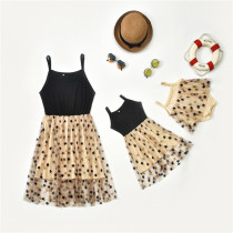 Mommy and Me Sequins Gold Stars Splicing Mesh Tutu Party Dresses