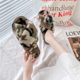 Adult Cozy Camouflage Soft Plush Fleece Cross Open Toe Slides Indoor Outdoor House Winter Warm Sole Slippers