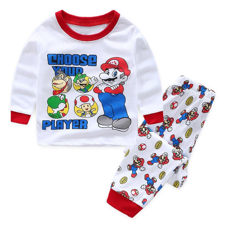 Toddler Boy Print Super Mario Pajamas Sleepwear Long Sleeve Tee & Leggings 2 Pieces Sets
