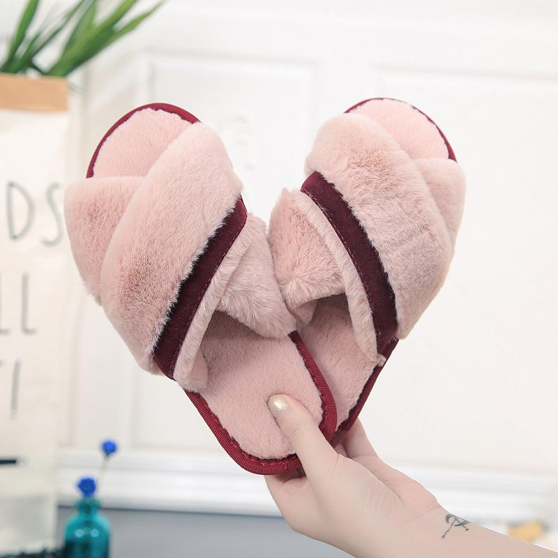 Adult Cozy Strips Soft Plush Fleece Cross  Open Toe Slides Indoor Outdoor House Winter Warm Sole Slippers
