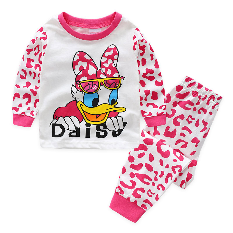 Toddler Girl Print Disney Donald Duck Daisy Pajamas Sleepwear Long Sleeve Tee & Leggings 2 Pieces Sets
