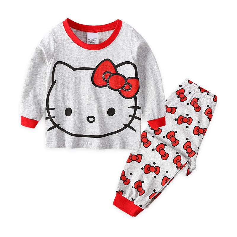 Toddler Girl Print Mascot Hello Kitty Pajamas Sleepwear Long Sleeve Tee & Red Bowknot Leggings 2 Pieces Sets
