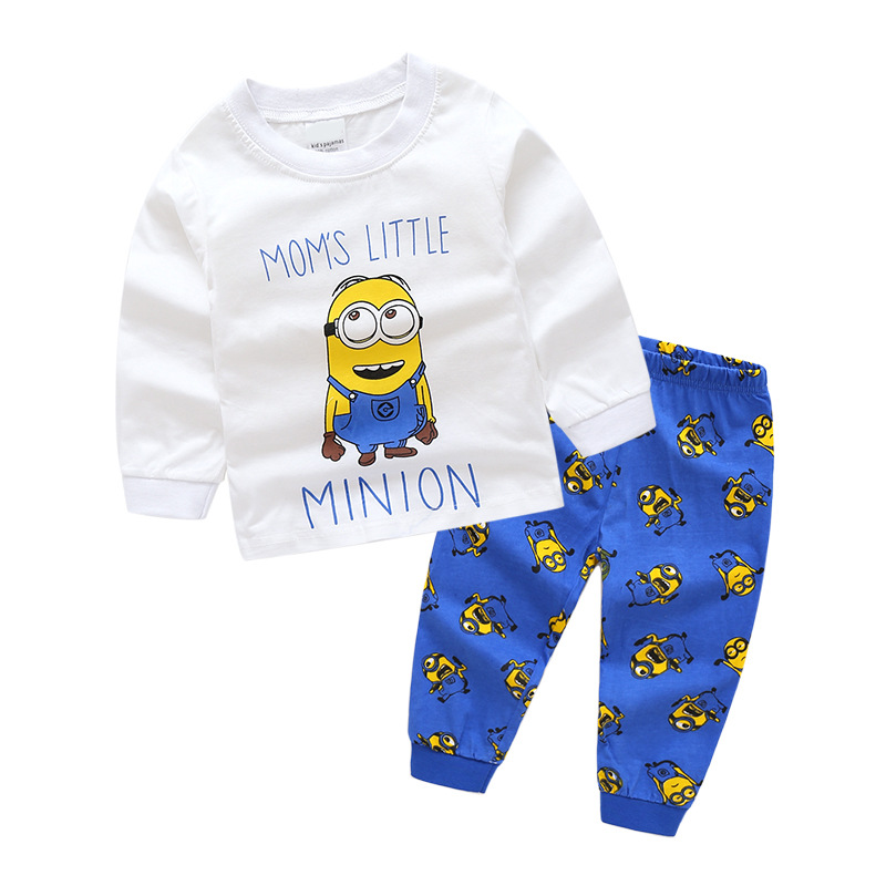 Toddler Boy Print Cartoons Minions Pajamas Pajamas Sleepwear Long Sleeve Tee & Leggings 2 Pieces Sets