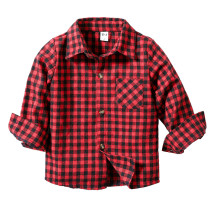 Toddler Boys Red Plaids Casual Long Sleeve Shirt