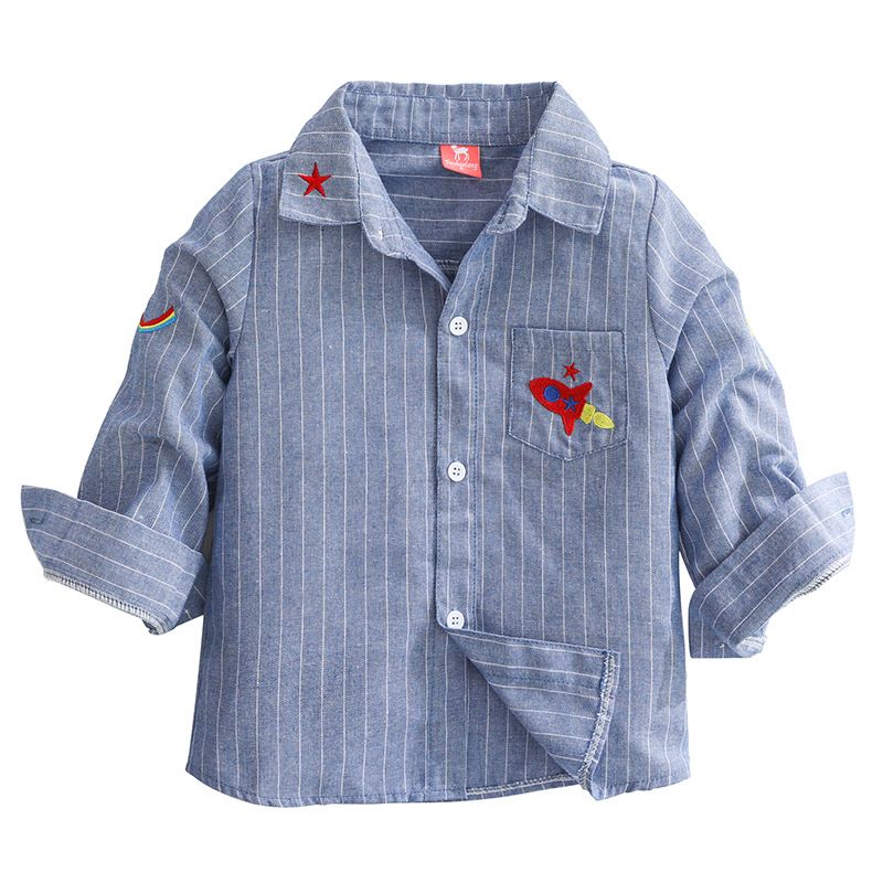Toddler Boys Embroidery Rocket White Stripes Blue Long Sleeve Shirt