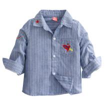 Toddler Boys Embroidery Rocket White Stripes Blue Long Sleeve Shirt