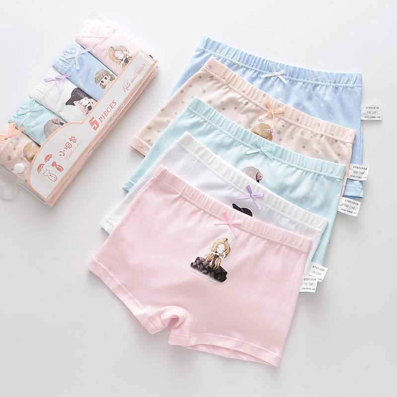 Kid Girls 5 Packs Print Little Girl Boxer Briefs Cotton Cartoon Underwear
