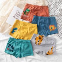 Kid Boys 5 Packs Print Dinosaurs Cute Animals Boxer Briefs Cotton Underwear