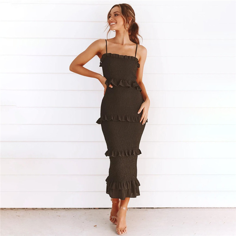 Women Multilayer Pleated Ruffles Sling Maxi Bodycon Sexy Dress