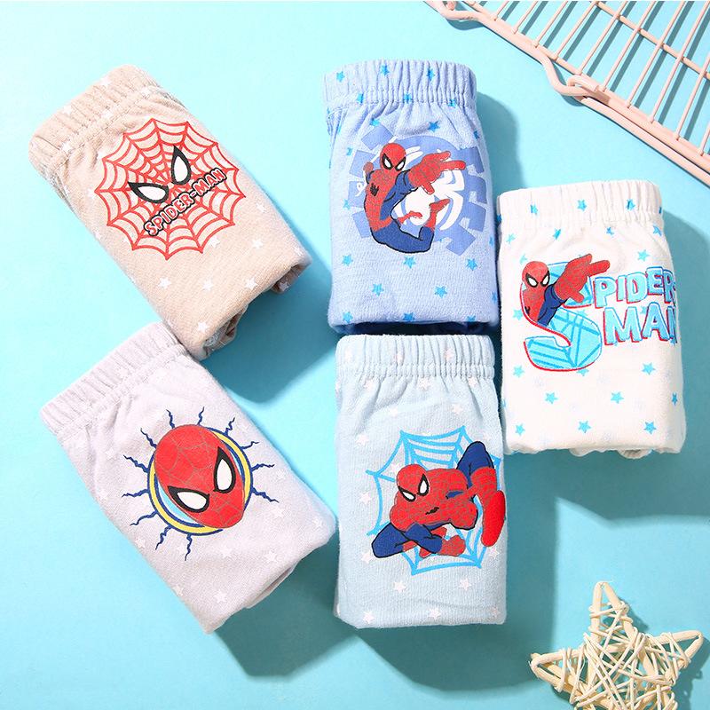 Kid Boys 5 Packs Spider Man Brief Cotton Underwear