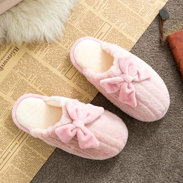 Couples Cozy Soft Plush Bow-knot Indoor Home House Winter Warm Slippers