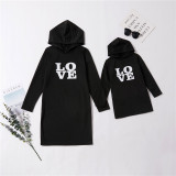 Mommy and Me Matching Prints Letter LOVE Hooded Dress