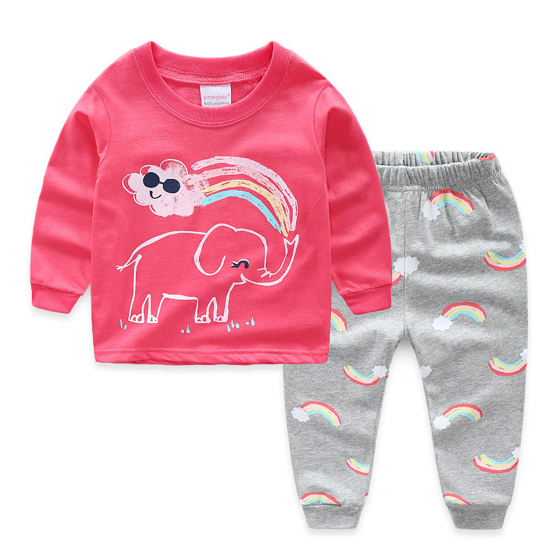 Toddler Girl Pink Print Elephant Pajamas Sleepwear Long Sleeve Tee & Rainbows Leggings 2 Pieces Sets