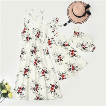 Mommy and Me Matching Printing Flowers Sling Maxi White Dresses