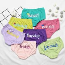 Kid Girls 7 Packs A Week Brief Cotton Underwear