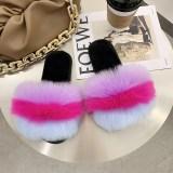 Cozy Soft Rainbow Matching Color Plush Fleece Open Toe Indoor Outdoor House Winter Warm Slippers