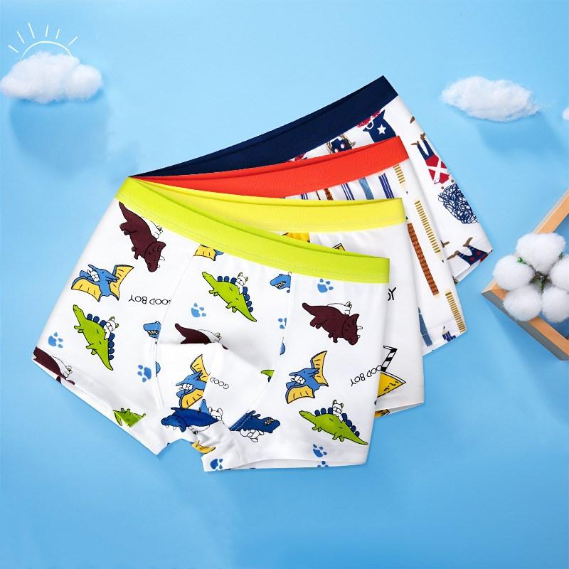 Kid Boys 2 Packs Prints Dinosaurs Boxer Briefs Cotton Underwear