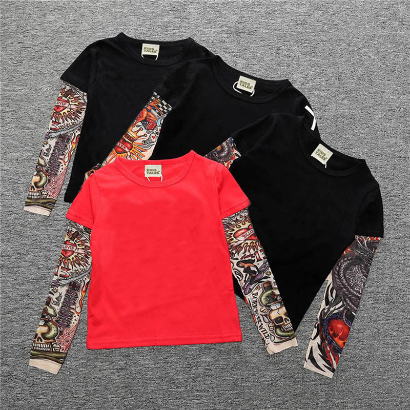 Toddler Boys Prints Tattoo Skeleton Splicing Long Sleeve Tee