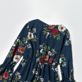 Mommy and Me Matching Prints Flowers Ruffled Long Sleeve Jumpsuit Romper