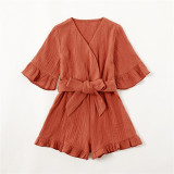 Mommy and Me Matching Ruffles Bowknot Iron Red Jumpsuit Romper