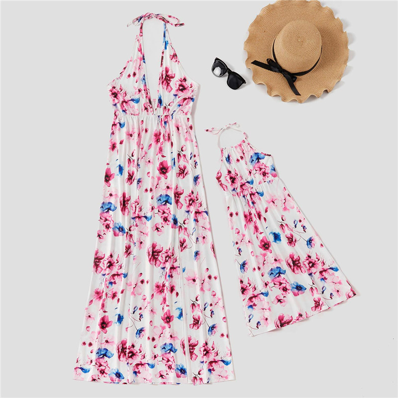 Mommy and Me Print Floral Backless Maxi Dress