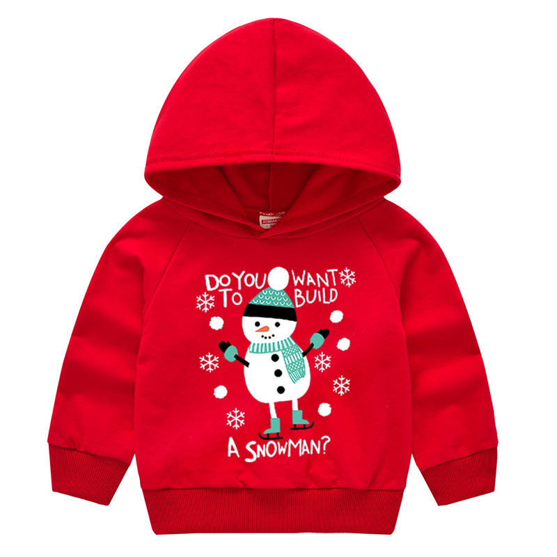 Toddler Kids Christmas Snowman Hooded Sweatshirt