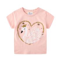Toddle Girls Print White Swan Cotton Pink T-shirt