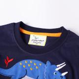 Toddler Boys Dinosaurs Pattern Long Sleeve Cotton Navy Tee