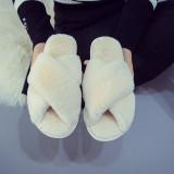 Cozy Soft Plush Fleece Cross Open Toe Slides Indoor Outdoor Winter Warm Slippers