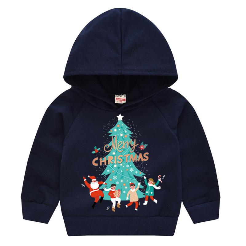 Toddler Kids Merry Christmas Tree Hooded Sweatshirt