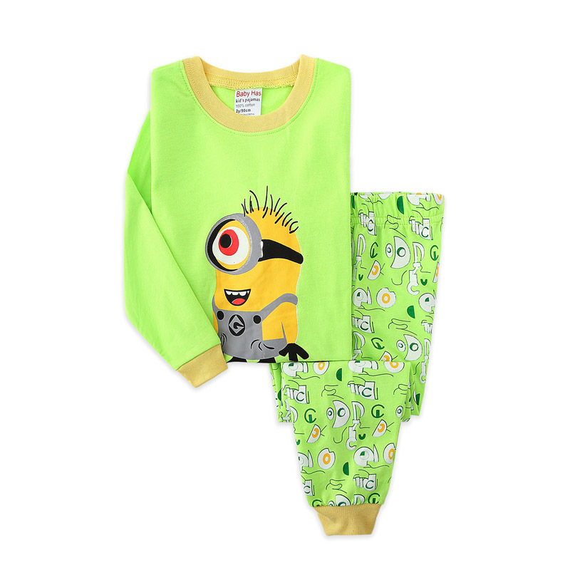 Toddler Boy Green Big eye Minions Pajamas Sleepwear Long Sleeve Tee & Leggings 2 Pieces Sets