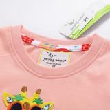 Toddle Girls Print Giraffes Cotton Pink T-shirt