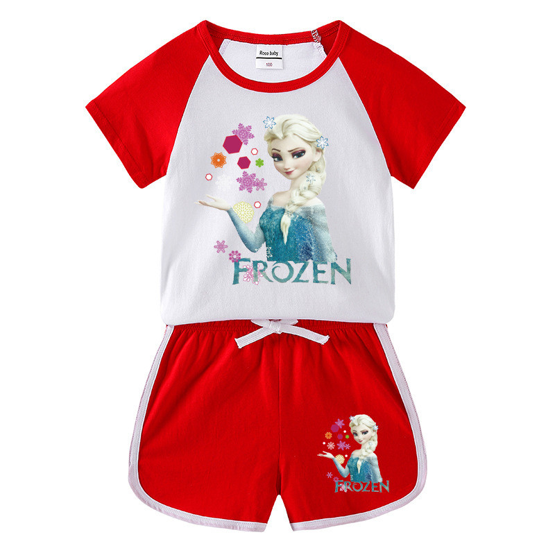 Toddler Kids Girl Frozen Princess Summer Short Pajamas Sleepwear Set Cotton Pjs